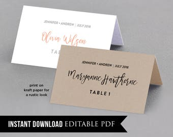Wedding Place Card Template, Table Number, Name Card, Seating Card, Printable File, Instant Download, Editable Text, Digital #018-101PC