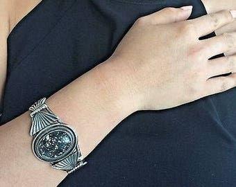 Handmade Silver Overlay New Lander Variscite Bracelet Signed by Leon MTZ