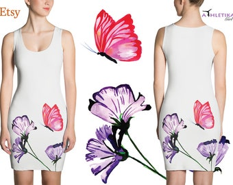 Summer Dress For Woman Watercolor Floral Bodycon Spring Flowers Lavender Print Romantic Pretty Girl Woman Fitted Short Sleeveless Butterfly