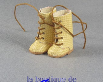 Leather Boots for Blythe doll yellow - yellow skin for Blythe boots