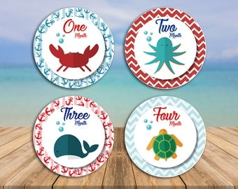 Printable Monthly Sea Life Stickers / Labels (Baby First Year)
