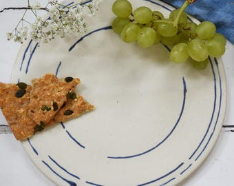 Handmade round ceramic platter, blue and white stoneware platter, cheese plate, cheese platter, handmade pottery