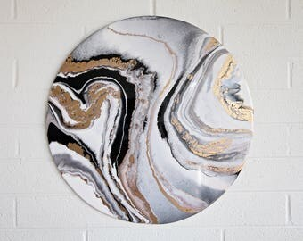"Original Art - Circular Abstract Black White and Gold Planet Acrylic and Resin Painting on Wood - 24""x24"""
