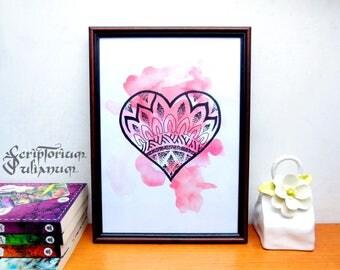 Dotwork heart print, mandala heart, wall art, love downloadable art, Valentine day gift, anniversary gift, Valentine decor, gift for him her