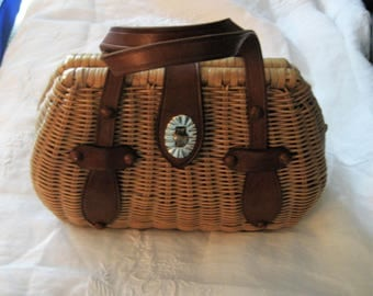 Wicker Purse Basket Weave and Leather Purse Leather Straps Brass Clasp Feet And Rivets Brown Lining with Squares Design Top Handles