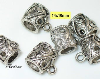6 trailer straps, pendant, Tibetan silver 14x10mm (S19)
