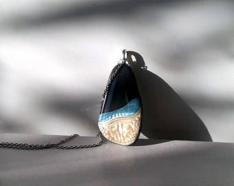 Pebble jewelry, Small pendant necklace, handpainted in pearl white and blue, stainless steel chain, mother's/girlfriend's/colleague's gift