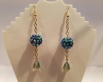 Blue Shambola Dangle Earings