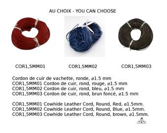 Cordon de cuir de vachette, ronde, 1.5 mm, rouge, bleu, brun foncé, noir, brun clair, cyan,Cowhide Leather Cord, Round, 1.5mm in diameter.