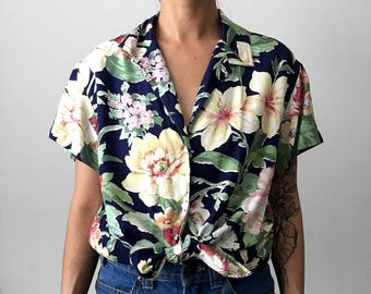 25% OFF wCODE - 25ALIVE - Vintage, Floral, Gardenia, Button-Up, Collared, Relaxed-fit, Top, Shirt