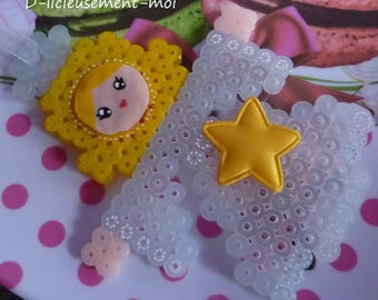 Christmas decoration to hang it on the tree Angel beaded pixel face kawaii cold porcelain hand painted star