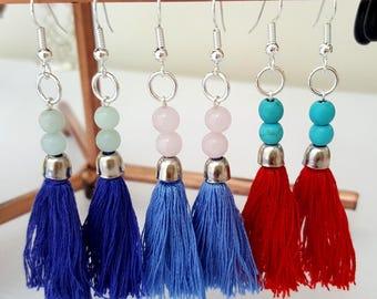 Semi Precious Gemstones, Tassel & Silver Drop Earrings - Choose Gemstone