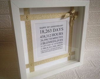 Golden wedding anniversary gift, 50th wedding, fifty, silver/ruby/diamond anniversary, 50th birthday, Mr & Mrs, married in 1967, 50th frame