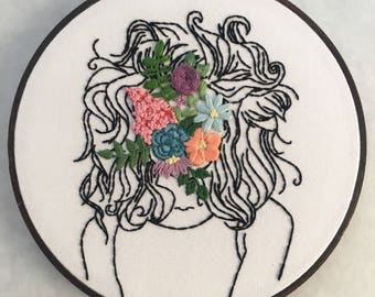 "Flower Face Girl - 7"" Hand Embroidered Hoop Art"