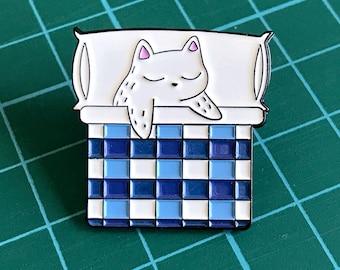 Kitty in Bed - Sleeping Cat Enamel Pin - Cat Lapel Pin - Hat Pin - Cat Gifts - Cat Jewellery