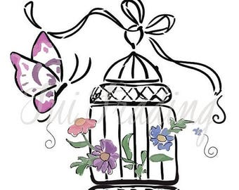 Vector Bird Cage, SVG Birdcage, Flowers and Butterfly Clipart, Hand Drawn Image