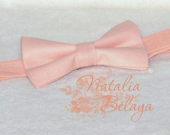 Bowtie. Pre tied adjustable Bow tie. Pale Pink Cotton Bow tie. Bow tie for men and women. Birthday gift. Baby shower gift.