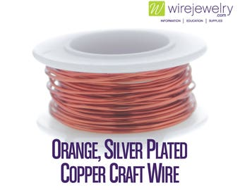 Orange, Silver Plated Copper Craft Wire, Round, Various Gauges and Lengths