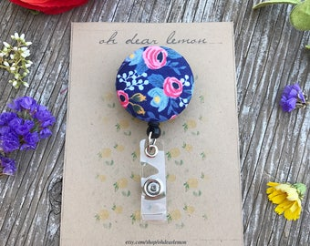 Rifle Paper Co Badge Reel, Floral Fabric, Rosa Navy, ID Name Tag, Holder, Clip, Medical, Nurse, Doctor, Office, Student, Gift