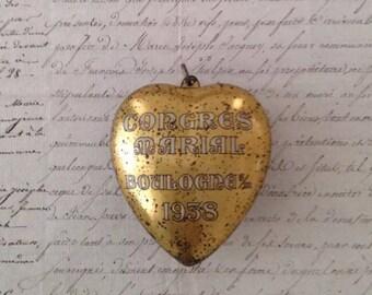 Antique French Congree Marial de Boulanger Ex Voto Heart