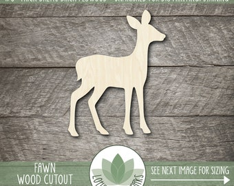 Fawn Wood Cutout, Wooden Fawn Laser Cut Shape, Unfinshed Wood Fawn For DIY Projects, Many Size Options, Woodland Fawn Nursery Decor