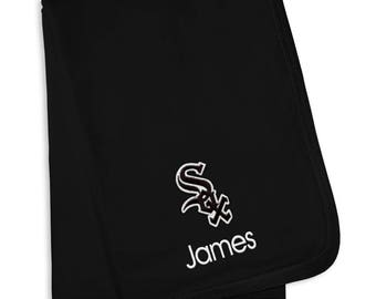 Personalized Chicago White Sox Baby Blanket Black