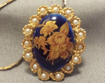 Limoges Blue Cobalt Necklace 14K Gold Plated setting
