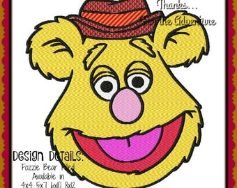 The Muppets Fozzie Bear Filled Digital Embroidery Machine Design File 4x4 5x7 6x10 8x12