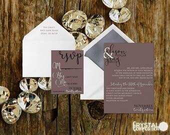 Glamorous Mauve Wedding Invitation Suite Printable