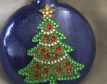 Royal Blue Glittered Christmas Tree Ornament