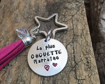 Hand Stamped La Plus Chouette Marraine, Personalised Message French Keyring