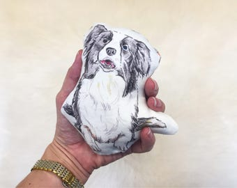 Border Collie baby rattle | sheep dog, dog plush, border collie gift, border collie pillow, dog pillow, pet pillow