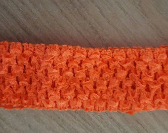 Neon dark orange headband soft and fine crochet for baby and girl under 6, tutus, dresses, accessory