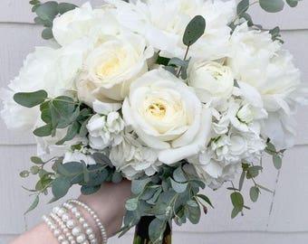 White Rose Hydrangea Eucalyptus Bridal Bouquet