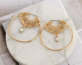 Earrings Hoops / Golden Boho Spiral with Rhinestone Pendant