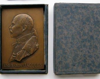 Belgium: General Jacques plaque, 1921, in original Paul Fisch box.