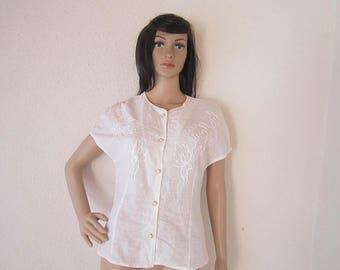 Vintage 80s blouse braid blouse with lace cotton S / m
