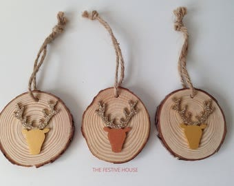 Rustic Wood Decoration, Christmas Decorations, Stag Tree Decoration, Stag Tree Ornaments