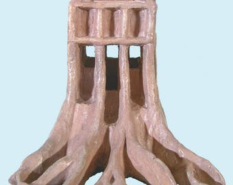 """small sculpture """"Rooted House"""" or """"Outer limits"""" - unique"""