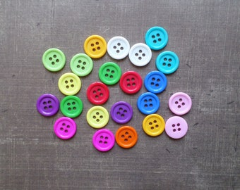 40 buttons mixed colors Pop 1,4 cm round