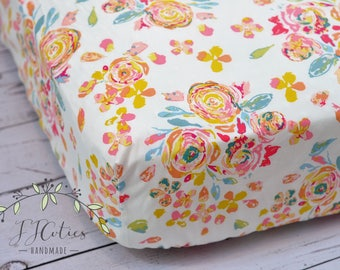 Fitted Crib Sheet-Flora Crib Sheets Girl Bedding-Flora Nursery Bedding-Pink Baby Nursery Bedding-Flower Flora Diaper Changing Pad cover