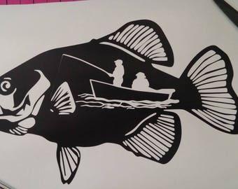 Men Fishing inside Fish Vinyl Decal