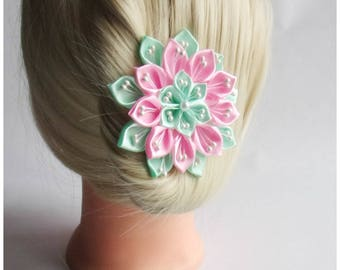 Satin Flower Hairclip/Hairclip with Kanzashi Flower pink and green mint/Satin Hair accessory/Up to 160 Custom Colors