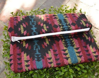Guatemalan woven wool printed| Clutch Handbag