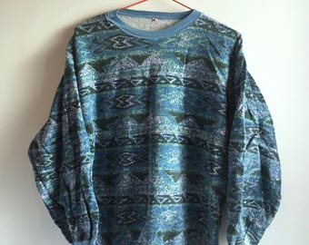90s blue tribal sweatshirt