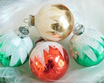 Vintage West Germany Glass Tree Ornaments, Christmas Tree Bulbs, Xmas Decorative Ornaments Display, White Glitter Mica, Holiday Tree Display