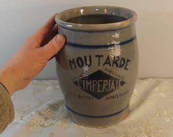 Pot Grès moutarde Impériale. Vintage. Namur. Ets Bister. Belgique