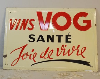 Plaque émaillée. Vins VOG. Marseille. Vintage. France