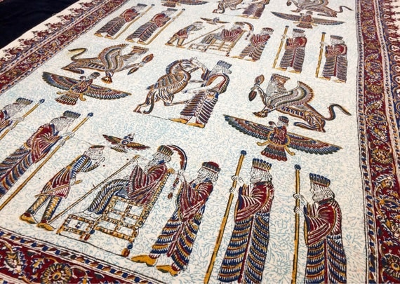 Block printed tablecloth, ahura mazda cyrus the great, natural dyes,  wall decor, natural textile with tassels