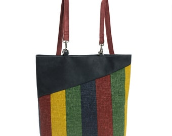 Backpack / Shopping, anthracite / red, yellow, green, blue lines